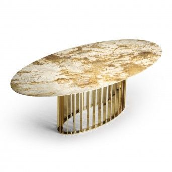 TABLE REPAS ORBITER ELLIPTICAL GOLD