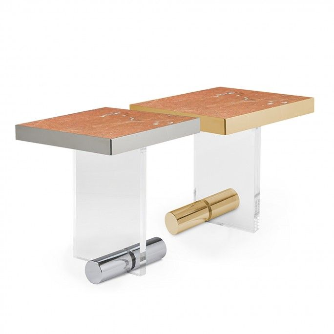TABLE D'APPOINT KANDINSKY SQUARE ACRYLIC GOLD