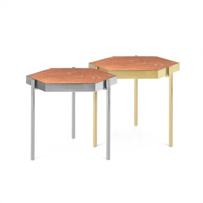 TABLE D'APPOINT KANDINSKY HEXAGONAL GOLD