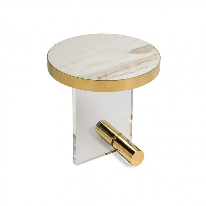 KANDINSKY SIDE TABLE ROUND ACRYLIC GOLD